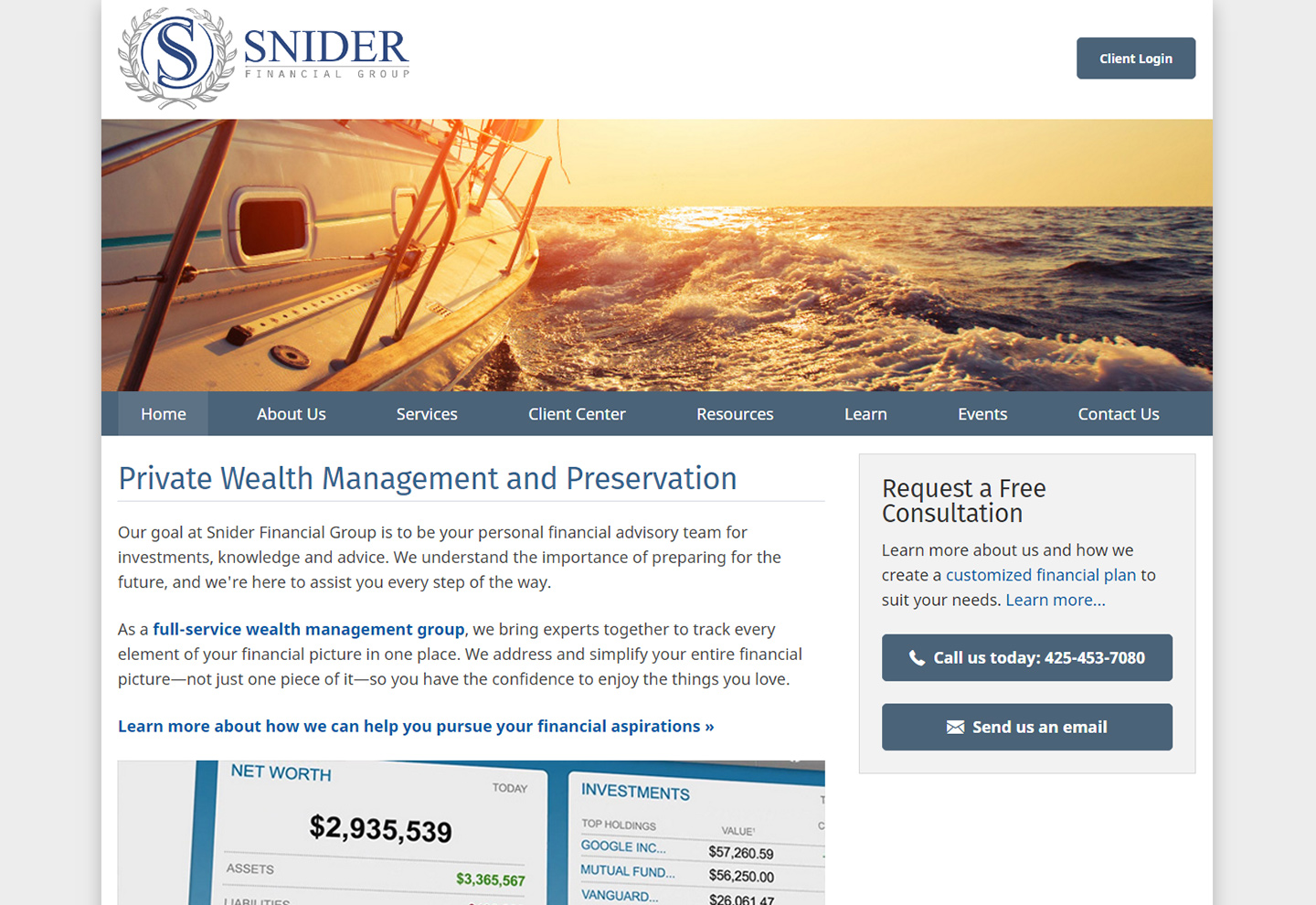 Snider Financial Group screenshot